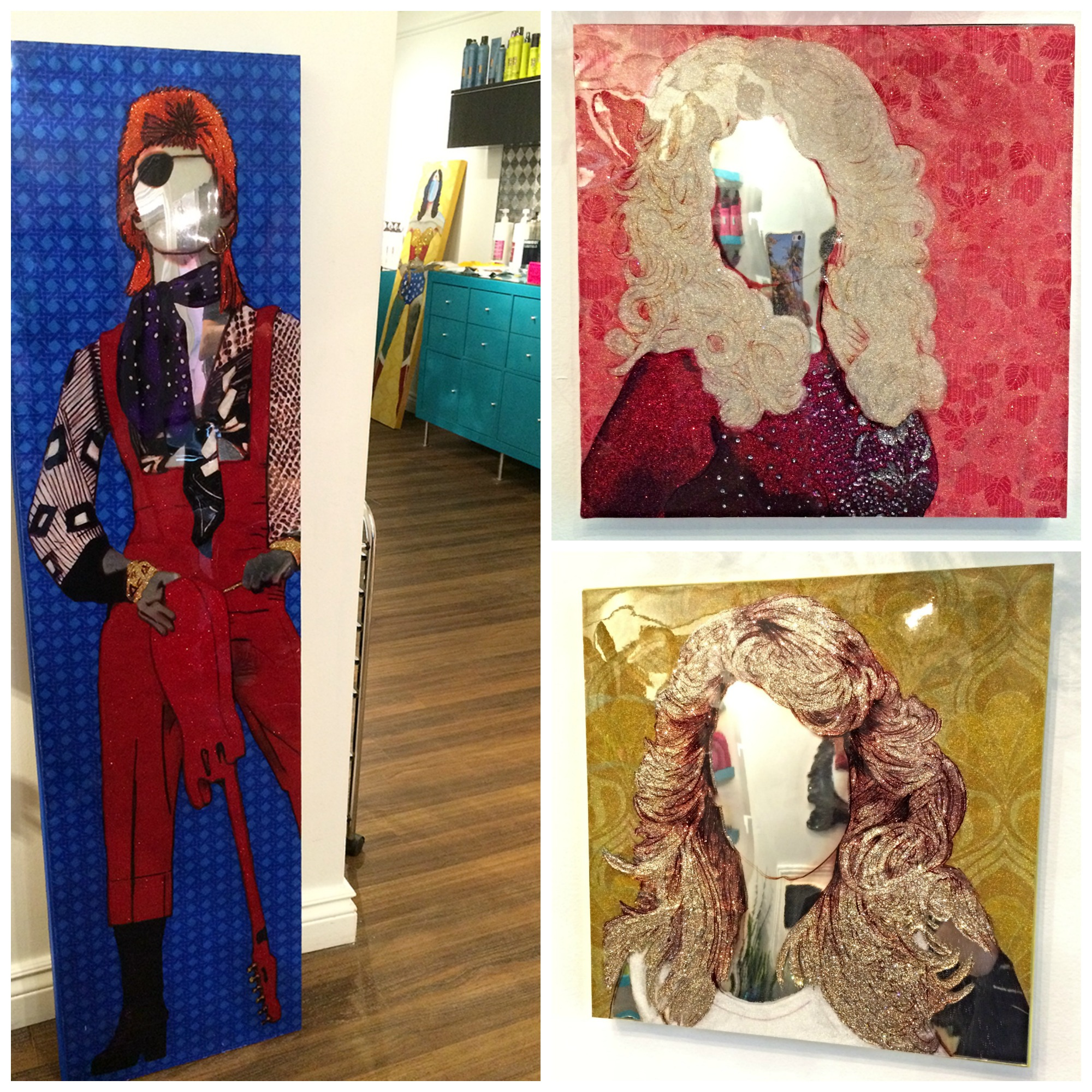 Ziggy Stardust, Dolly Parton, Farrah Fawcett by Trixie & Beever 2015